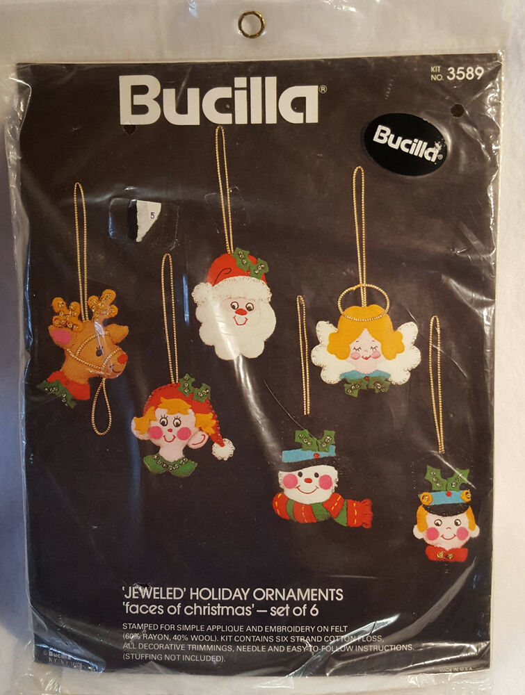 Vtg Bucilla Christmas Felt Applique Ornament Kit Faces of ...