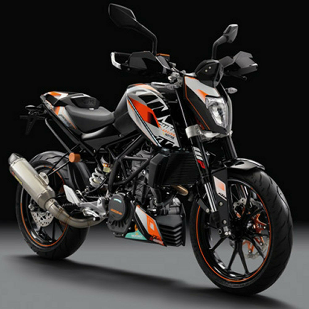new ktm akrapovic racing graphic kit decals 2015 2016 390 duke 90608999200 ebay. Black Bedroom Furniture Sets. Home Design Ideas