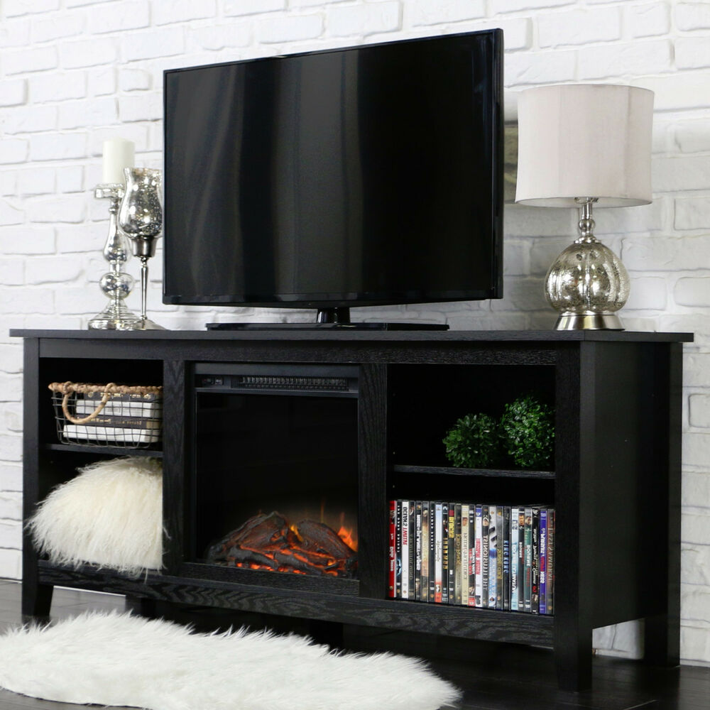 New 58 Inch Tv Stand With Fireplace Insert In Black Finish Ebay