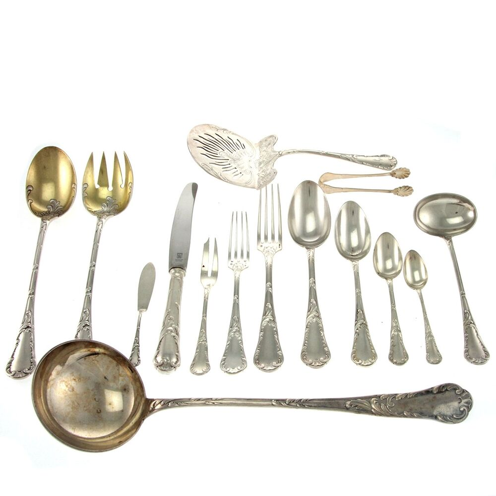 christofle 83pcs silver plated flatware cutlery set paris france circa 1850 ebay. Black Bedroom Furniture Sets. Home Design Ideas