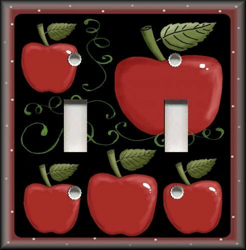 Light Switch Plate Cover Country Kitchen Decor Apples On Black Apple Decor Ebay