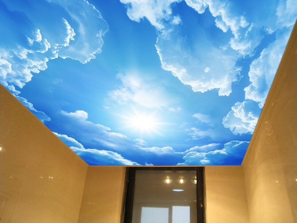 3d blue sky cloud ceiling wallpaper murals wall print for Ceiling cloud mural