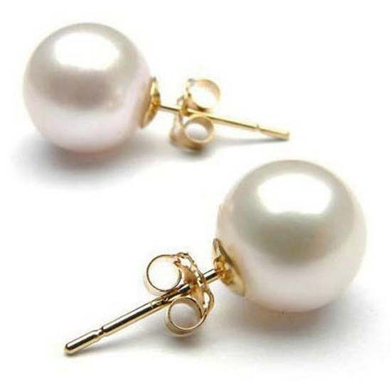 how big is 8mm earrings 18k yellow gold filled 8mm large vintage pearl stud 5733