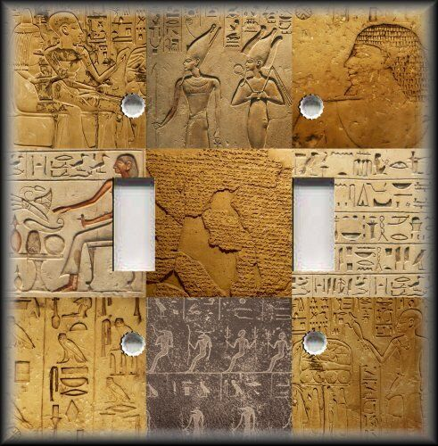 Light switch plate cover egyptian hieroglyphics art for Egyptian decorations for home