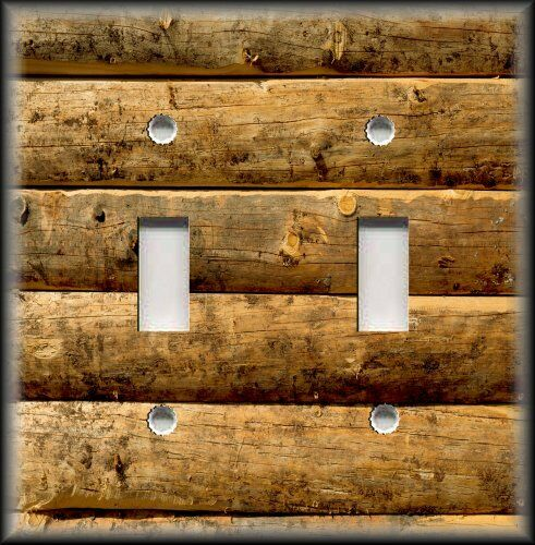 Light Switch Plate Cover Rustic Image Of Brown Wood Logs