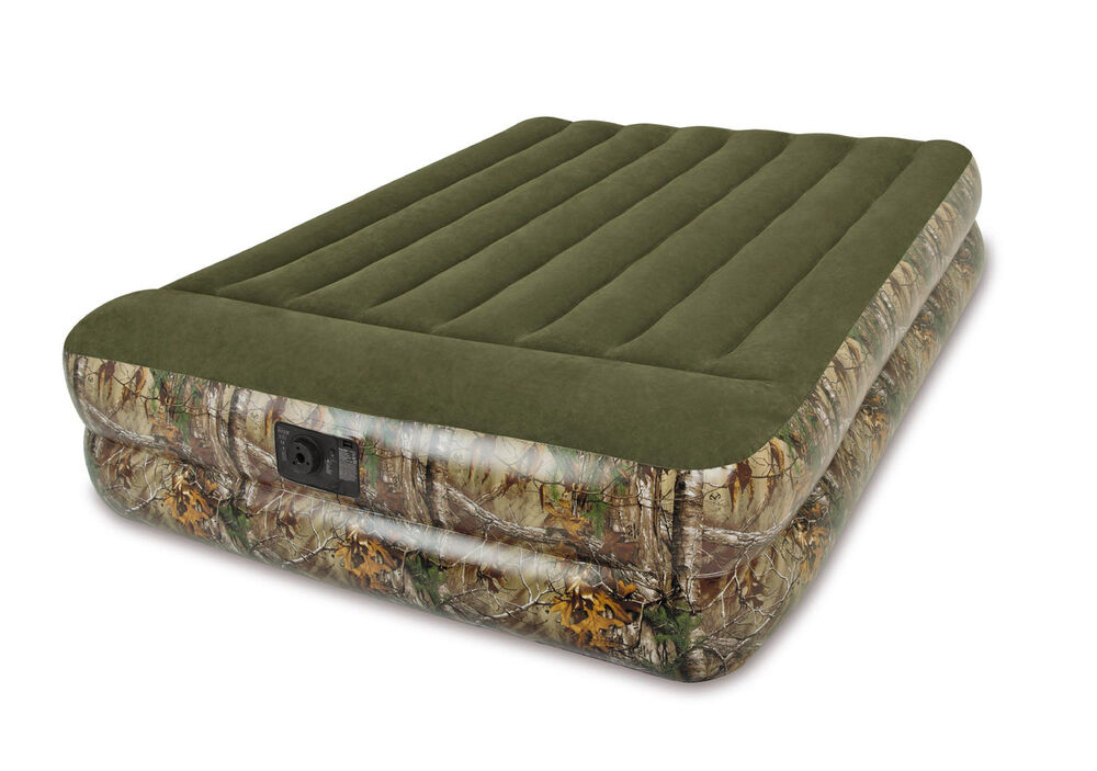Intex Real Tree Queen Pillow Rest Camo Air Bed Camping