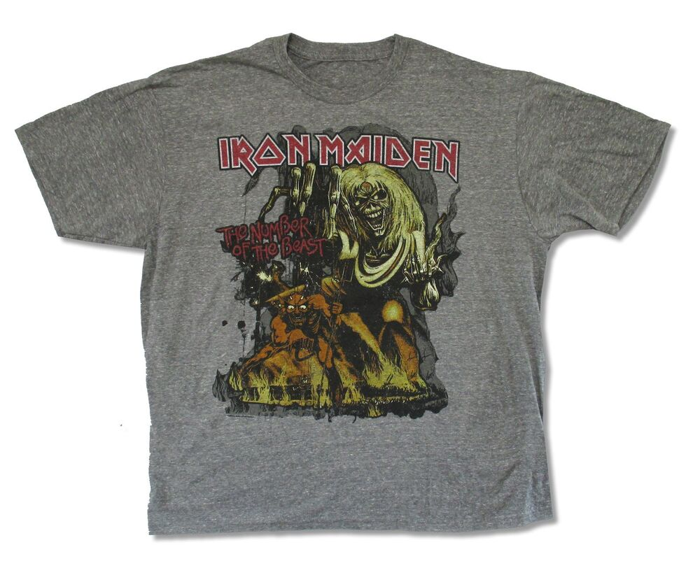 Iron maiden number of the beast mens heather gray t shirt for Mens heather grey t shirt