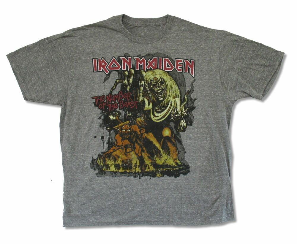 Iron maiden number of the beast mens heather gray t shirt Mens heather grey t shirt