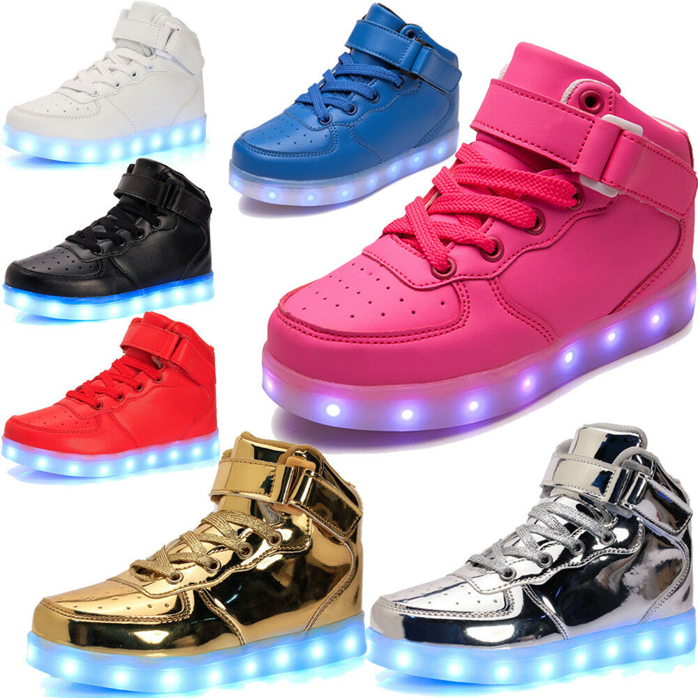 40b6cd0848cd68 Details about LED High Top Kids Boy Girl Luminous Shoes Light Up Casual  Sneakers New Year Gift