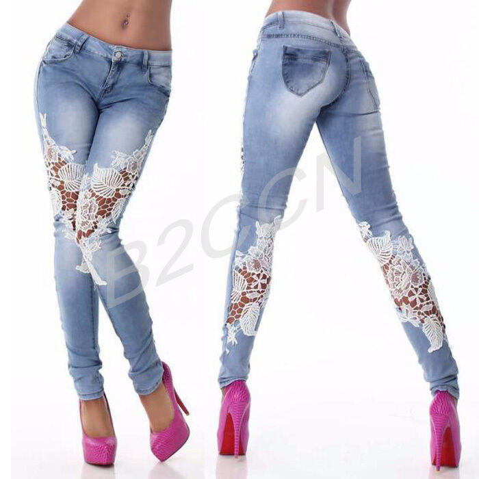 mode damen blaue jeans spitze n hte enge jeans stift hose denim hose ebay. Black Bedroom Furniture Sets. Home Design Ideas
