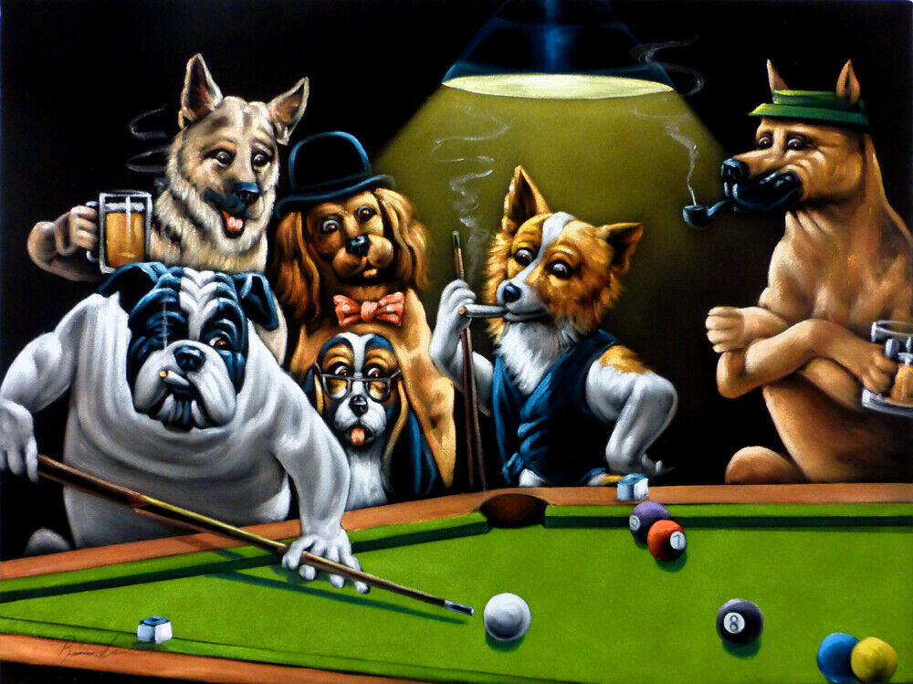 New Black Velvet Painting Of Dogs Playing Pool Billiards