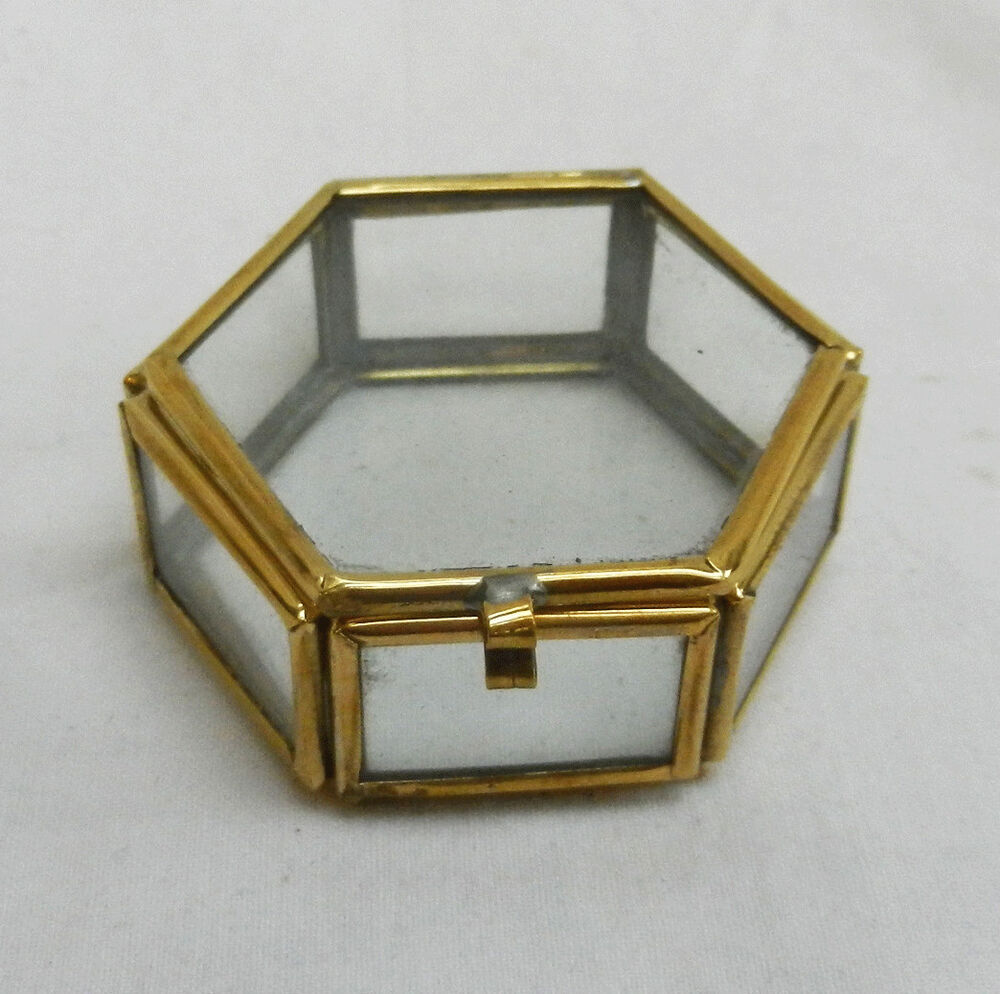 Small brass bound hexagonal glass box trinkets display for Glass boxes for crafts
