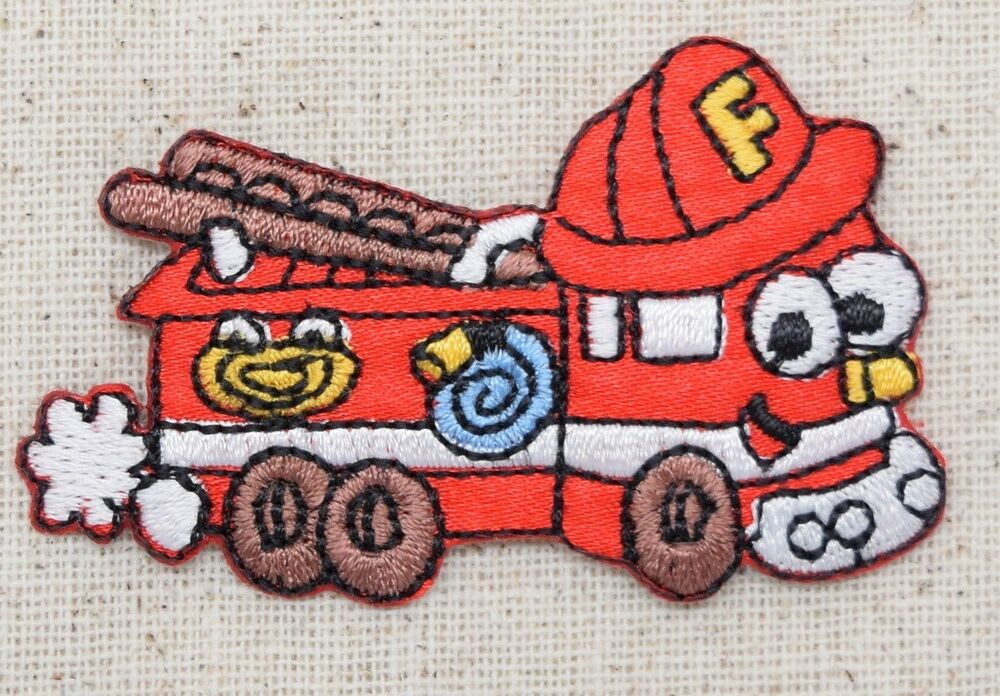 Fire Truck Iron On Patch - Iron On Applique
