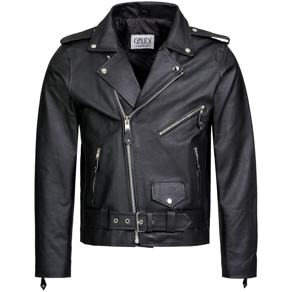 herren lederjacke bikerjacke brandojacke rindleder ebay. Black Bedroom Furniture Sets. Home Design Ideas