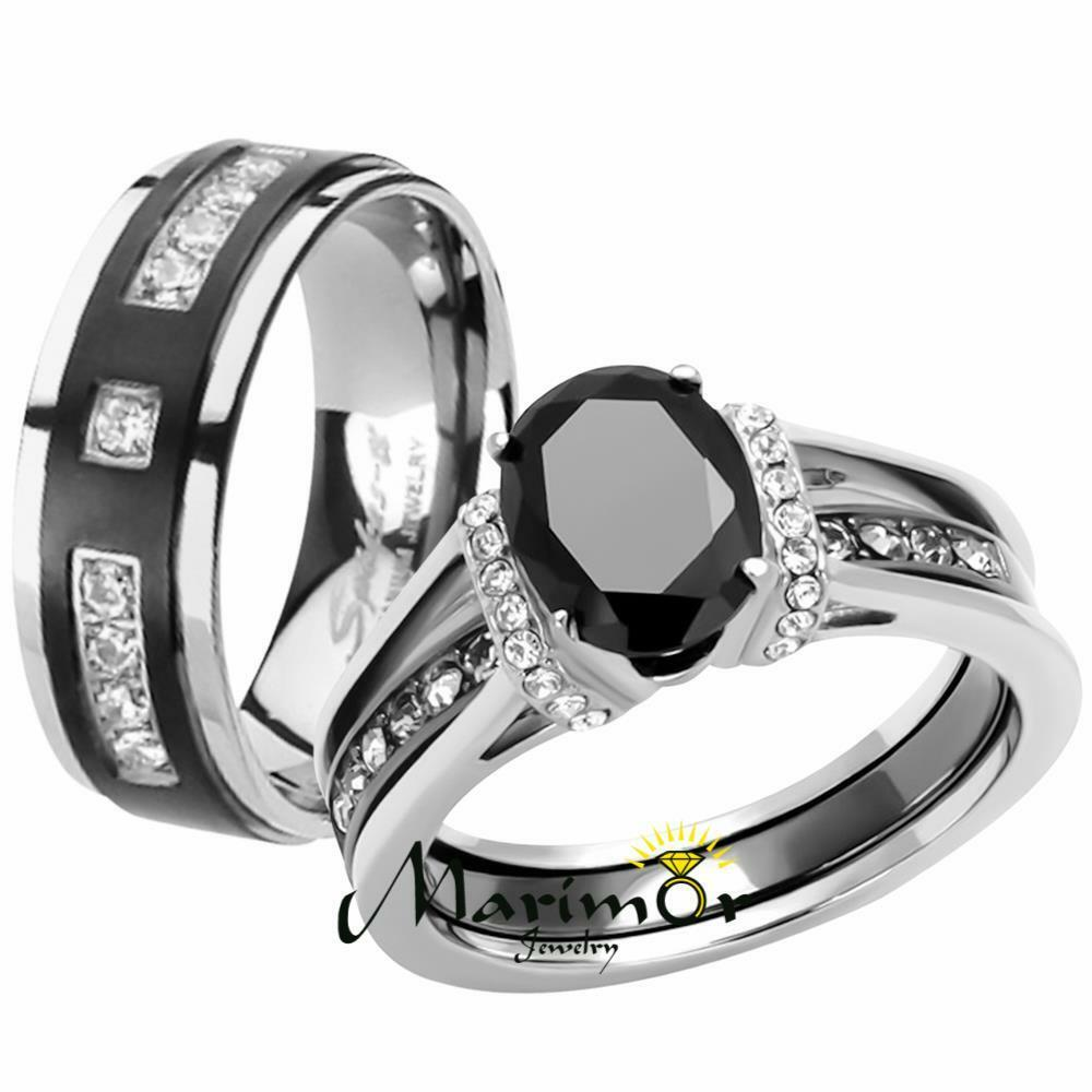 Stainless Steel Wedding Rings: Her & His Black Cz Stainless Steel Wedding Engagement Ring