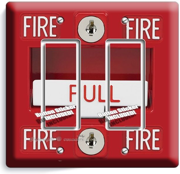 FIRE ALARM PULL DOWN DOUBLE GFCI LIGHT SWITCH WALL PLATE