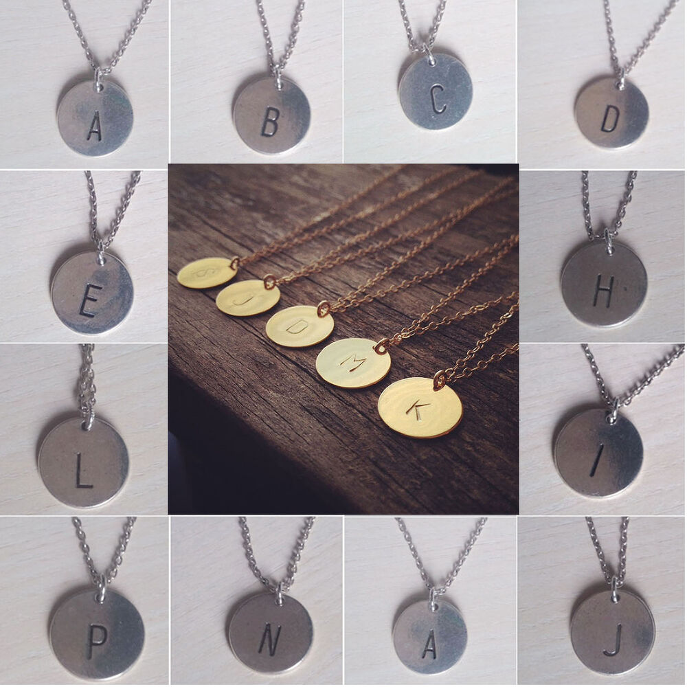 chic creative initial necklace personalized discs charm