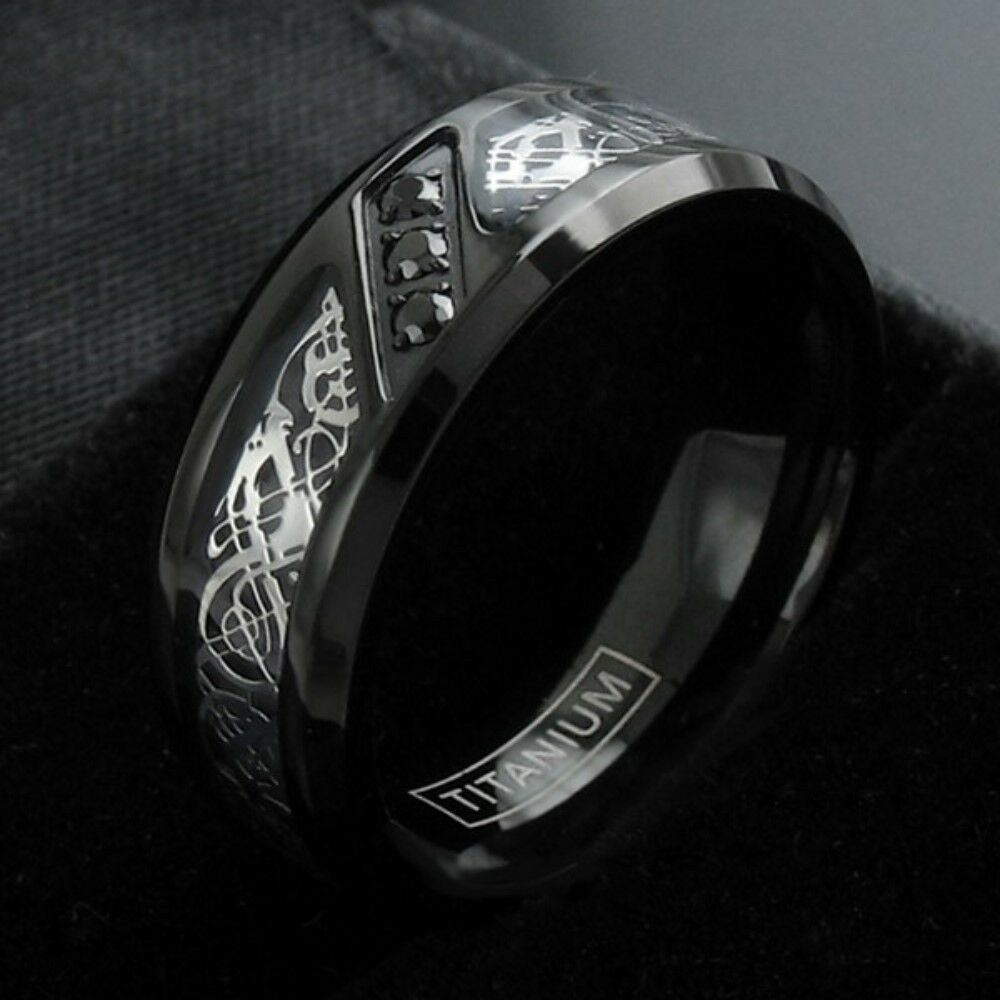 Tire Wedding Rings >> Black Titanium Men's Celtic Dragon 0.09 Carat CZ Wedding Band Ring Size 9-13 | eBay