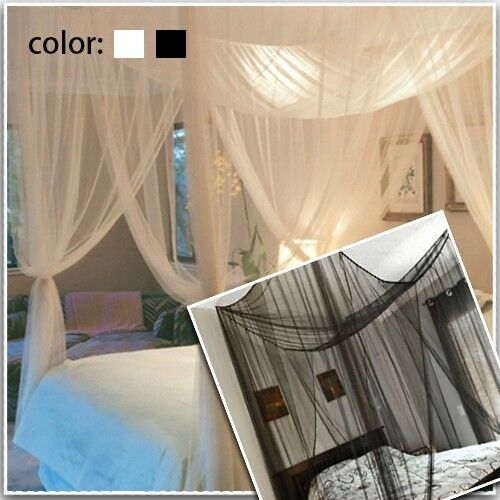 4 Corner Post Bed Canopy Mosquito Net Full Queen King Size