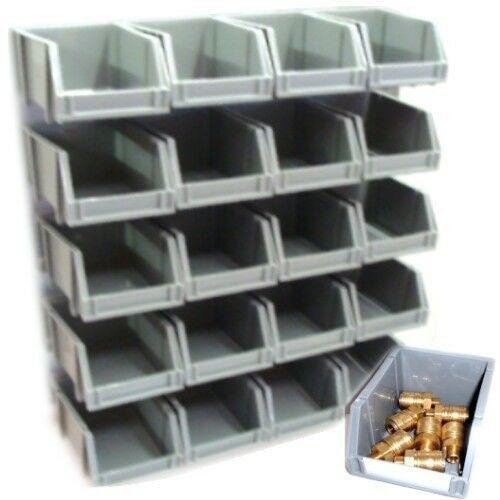 grey plastic storage bin kit wall mount rails stacking organise garage workshop ebay