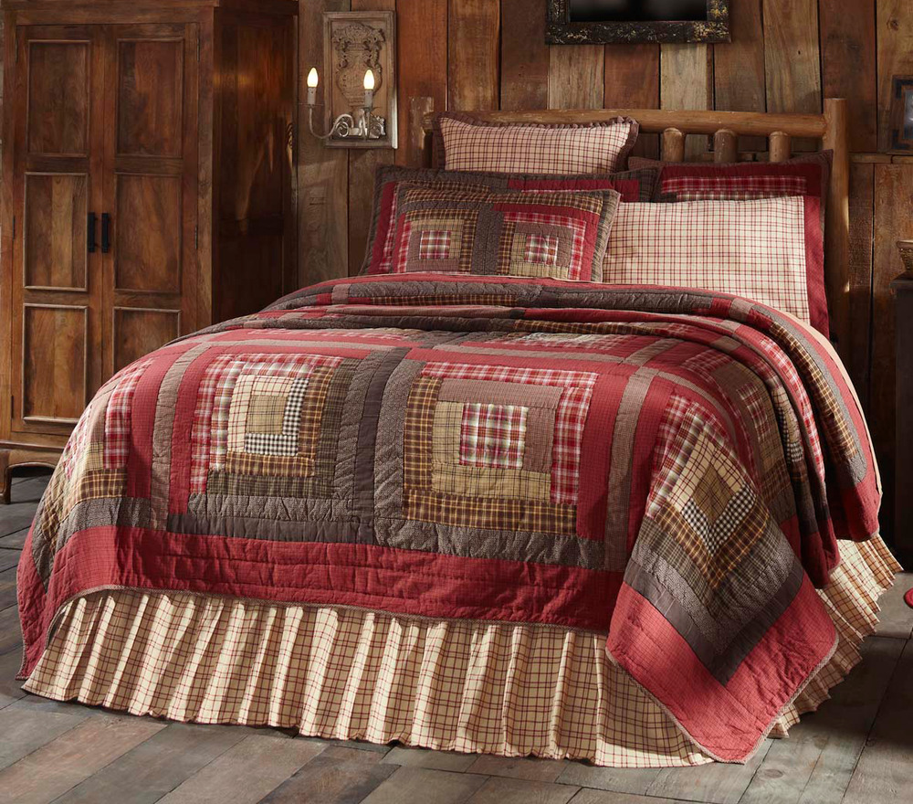 Tacoma King Quilt Set Red Plaid Brown Lodge Log Cabin