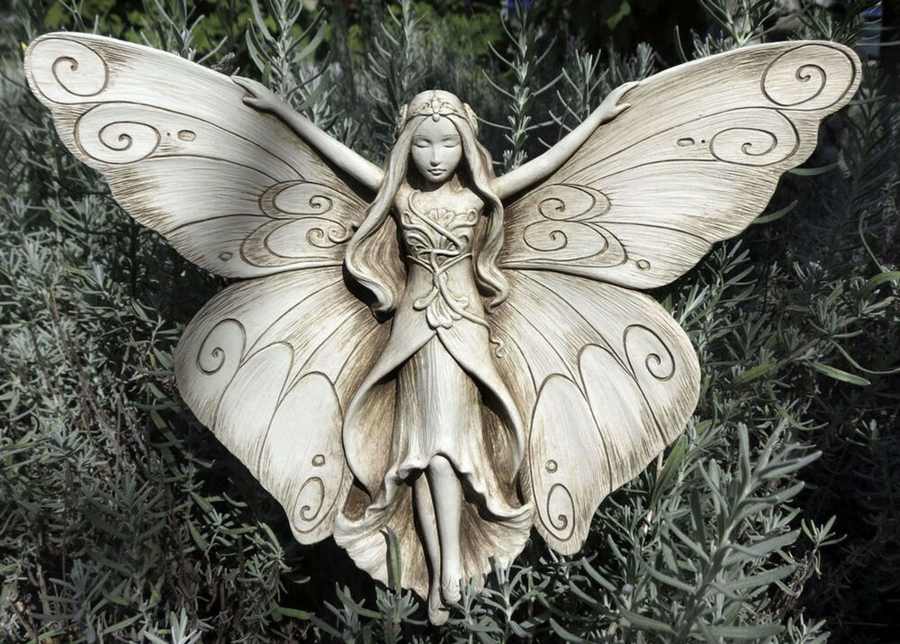 Madame Butterfly Cast Cement 11 Garden Insect Wall Sign Indoor Outdoor Plaque Ebay