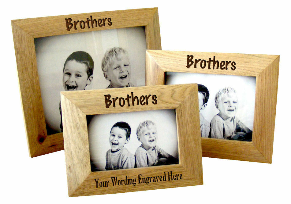 Details about Personalised Brothers Solid Oak Wooden Landscape Photo Frame, Engraved Gift