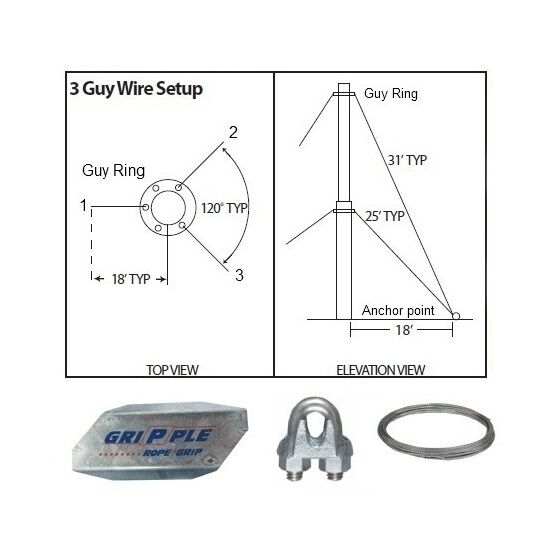 antenna guy wire  u0026 clamps kit 20 u0026 39  ft telescoping mast down