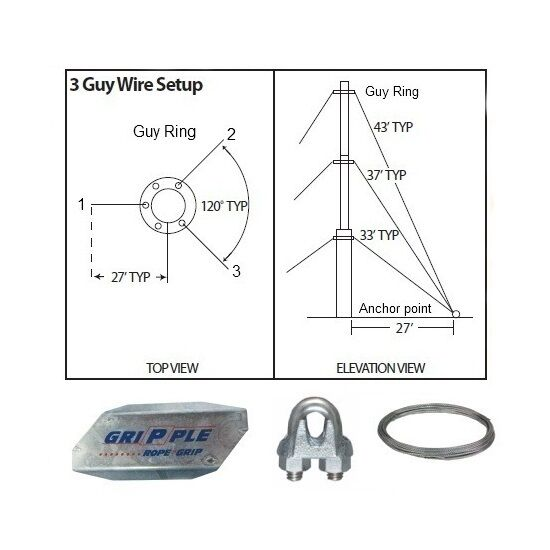 Antenna Guy Wire Amp Clamps Kit 30 Ft Telescoping Mast Down