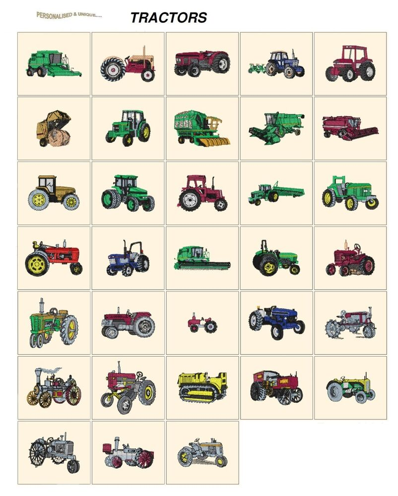 Tractors cd or usb machine embroidery designs files many