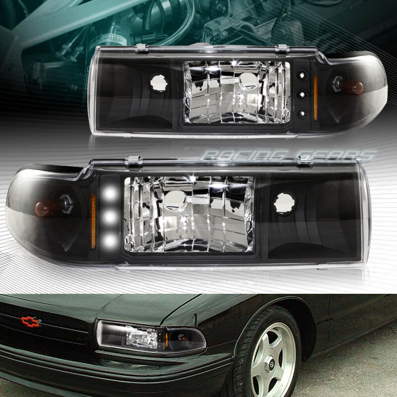 Black Housing Drl Led 1 Piece Headlights Fit 91 96 Chevy