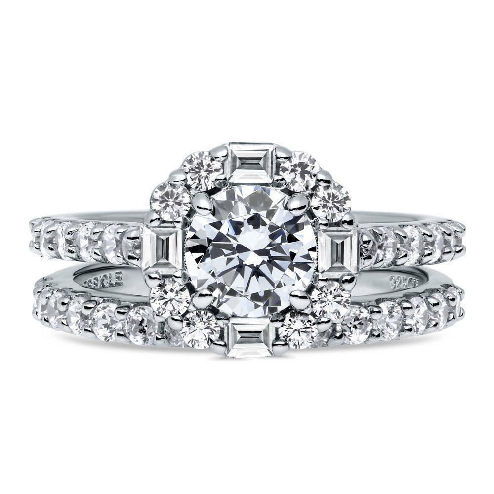 Berricle sterling silver round cz art deco halo engagement for Art craft engagement rings