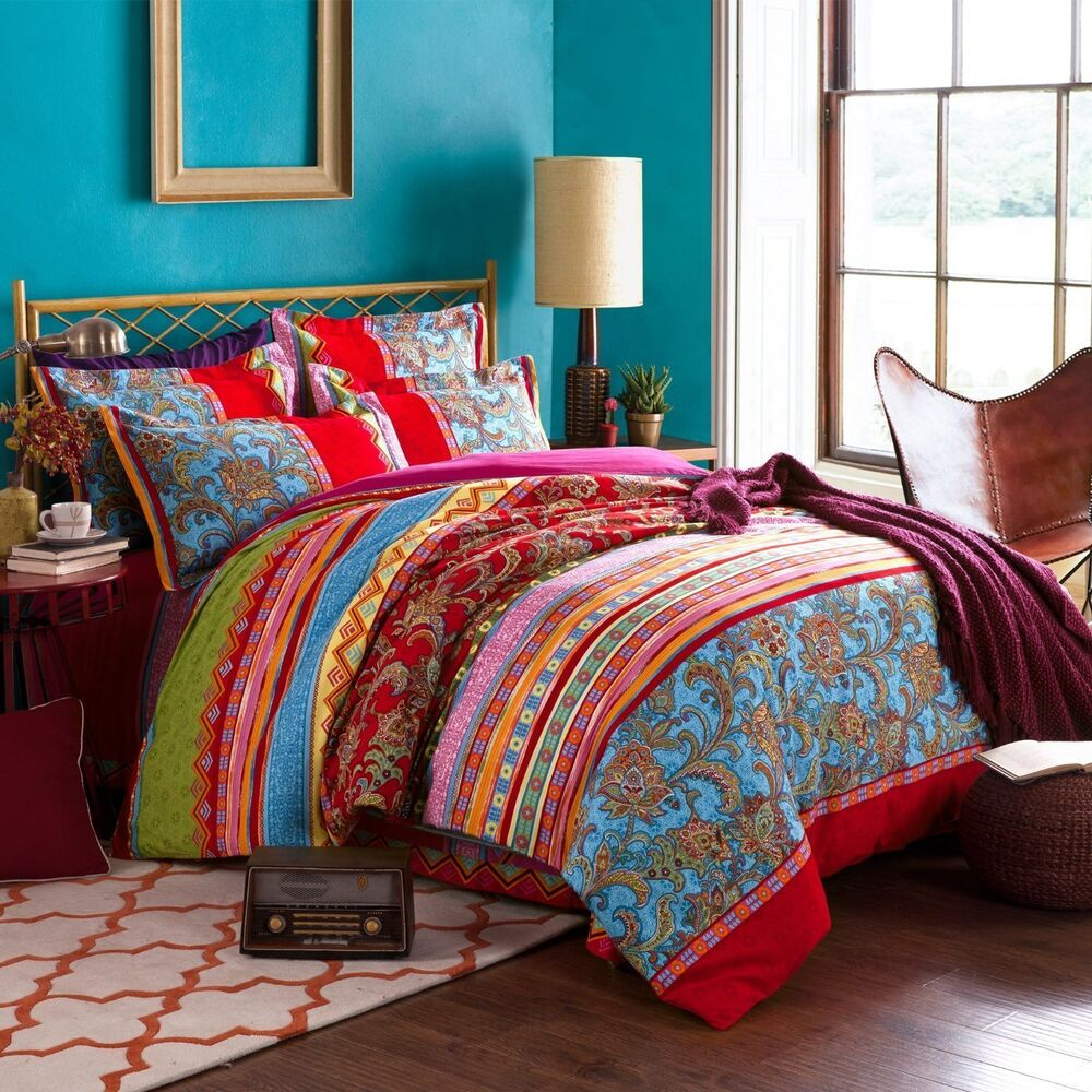 Bedding Decor: Bohemian Ethnic Style Bedding Sets Boho Duvet Cover Set