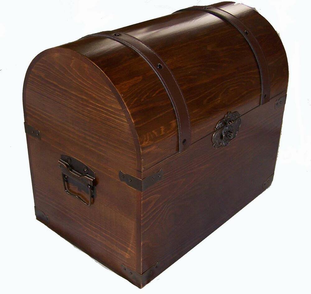 large open wood treasure chest wooden pirate storage box vintage