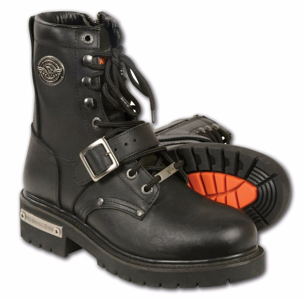 Mens Black Leather Need Height Buckled And Laced Boot W