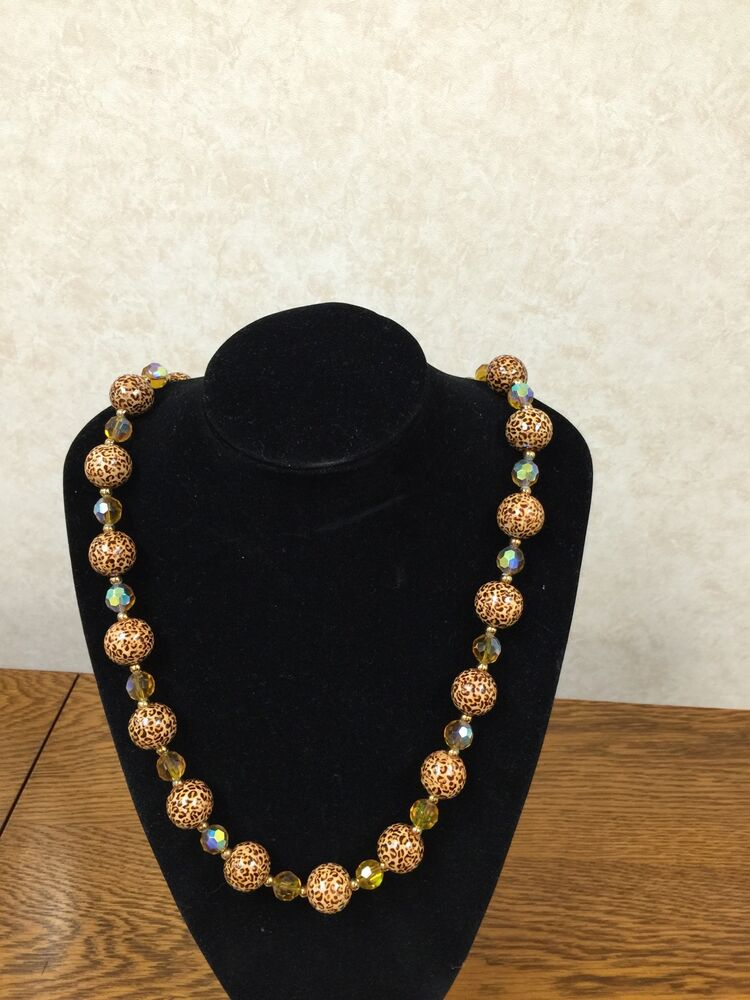 Joan rivers classics collection cheetah bead crystal for Joan rivers jewelry necklaces