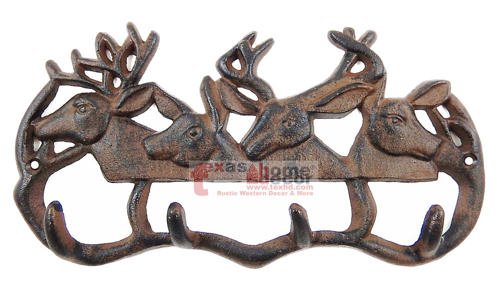 Cast iron deer antler coat hanger rack key holder wall mount cabin lodge 4 hooks ebay - Antler key rack ...