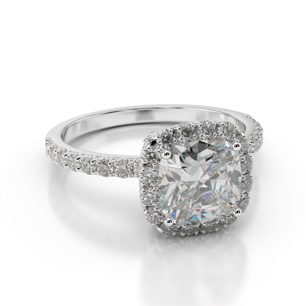 1 Carat D SI1 Diamond Engagement Ring Cushion Cut 18K ...