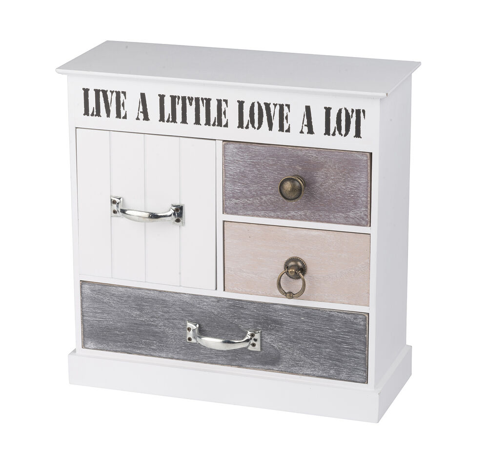 kommode mini kommode kleiner schrank schubladen 4 f cher holz shabby chic wei ebay. Black Bedroom Furniture Sets. Home Design Ideas
