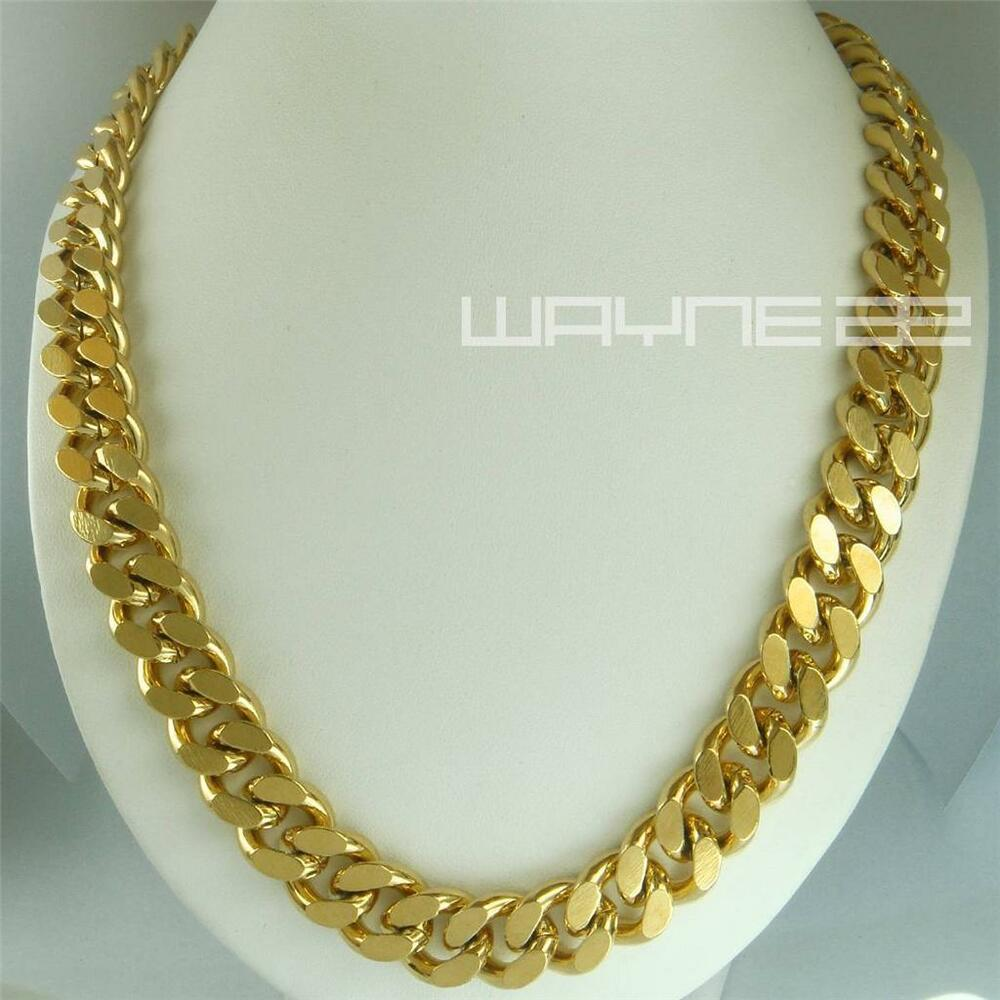 18k gold filled mens solid heavy chain long necklace curb. Black Bedroom Furniture Sets. Home Design Ideas