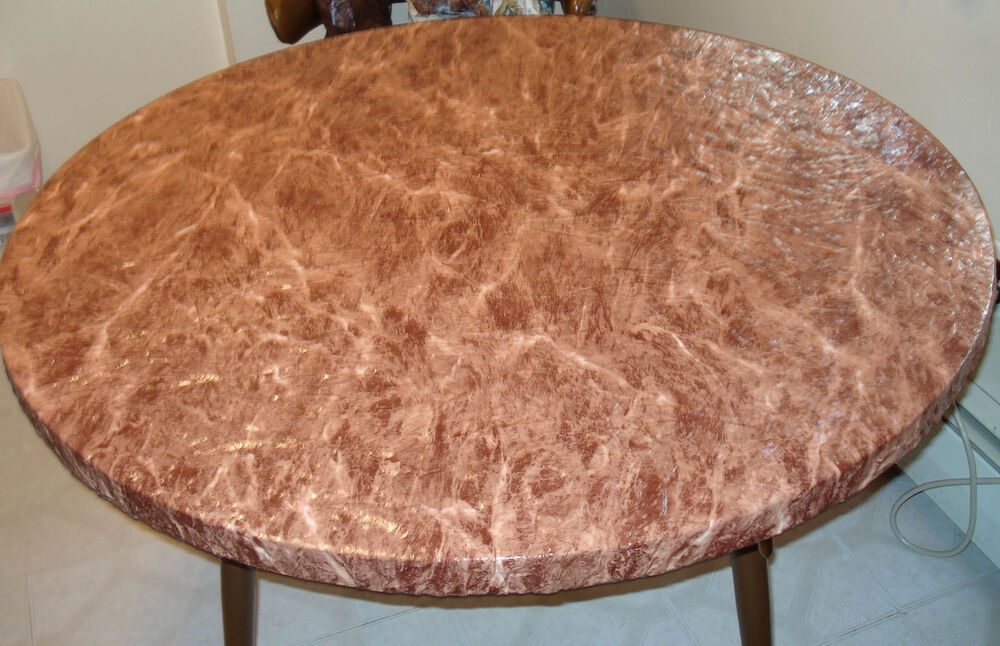 Brown Marble Elastic Fitted Vinyl Indoor Outdoor 44 Quot Round