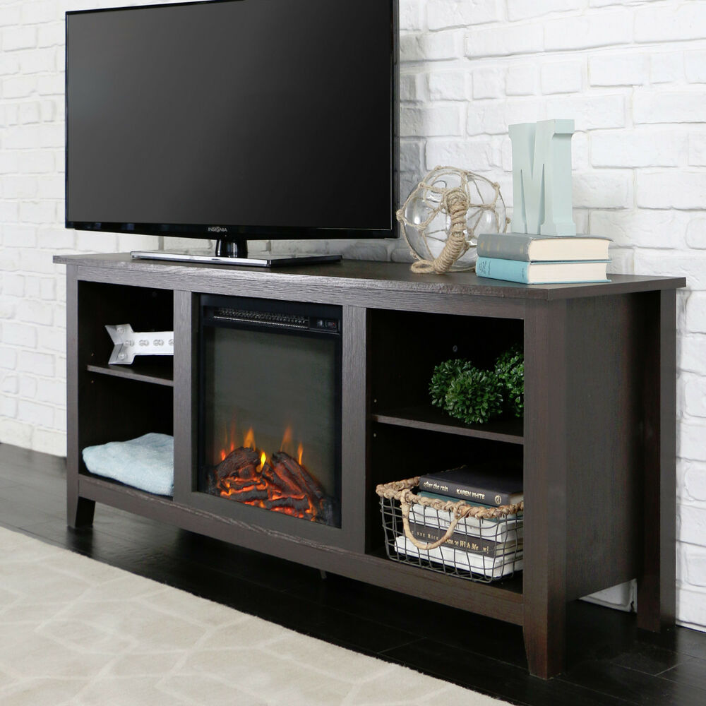 new 58 inch tv stand with fireplace in espresso finish ebay. Black Bedroom Furniture Sets. Home Design Ideas