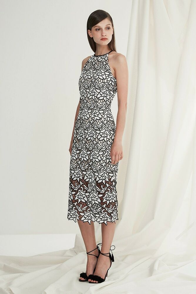 598f3dd4aad Details about Keepsake True Love Midi Dress with All Over Black   White Lace  Overlay KS-0502