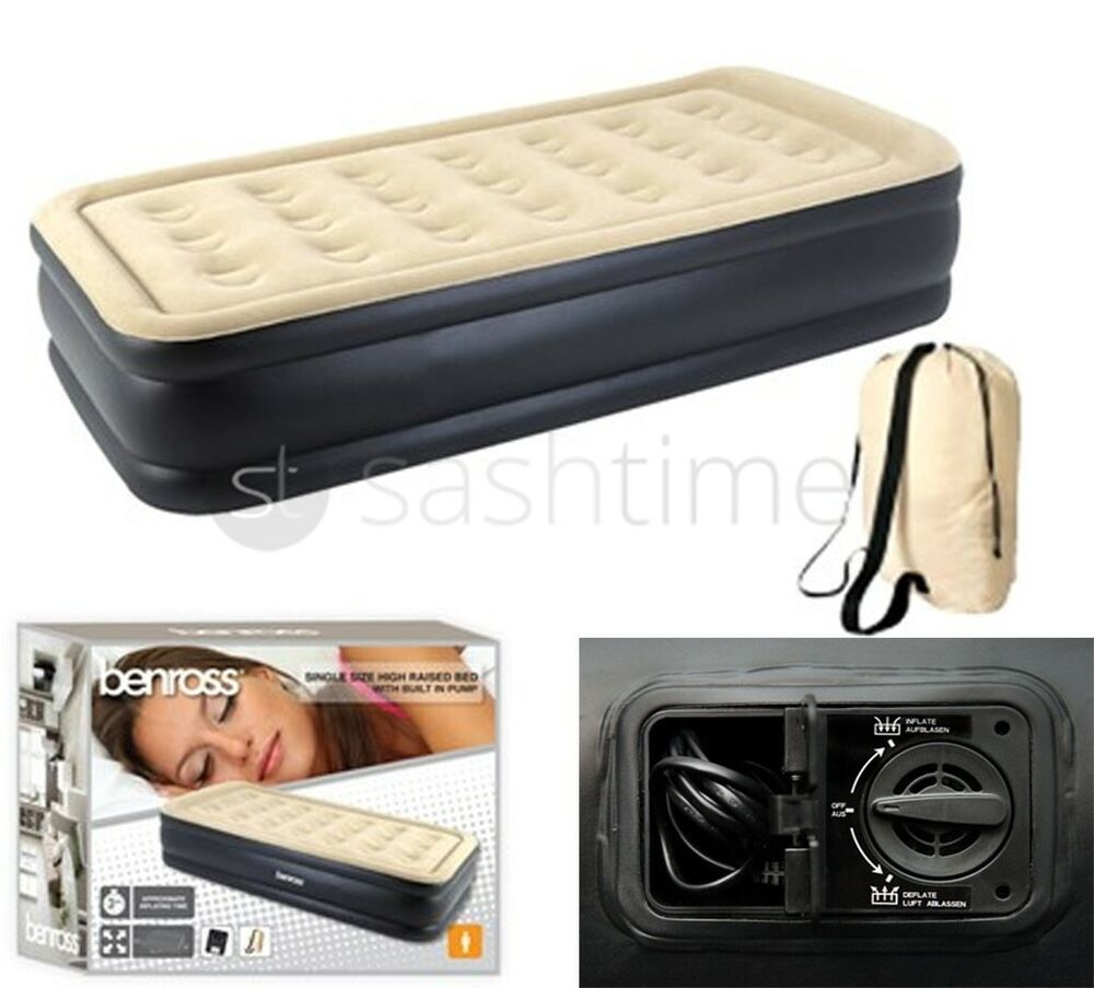 Inflatable High Raised Single Air Bed Mattress Airbed W