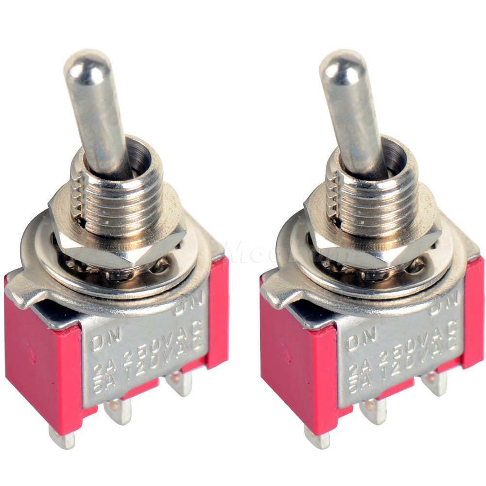 2pc 3 Pin Mini Toggle Switch Spdt On On Mts 102 Miniature