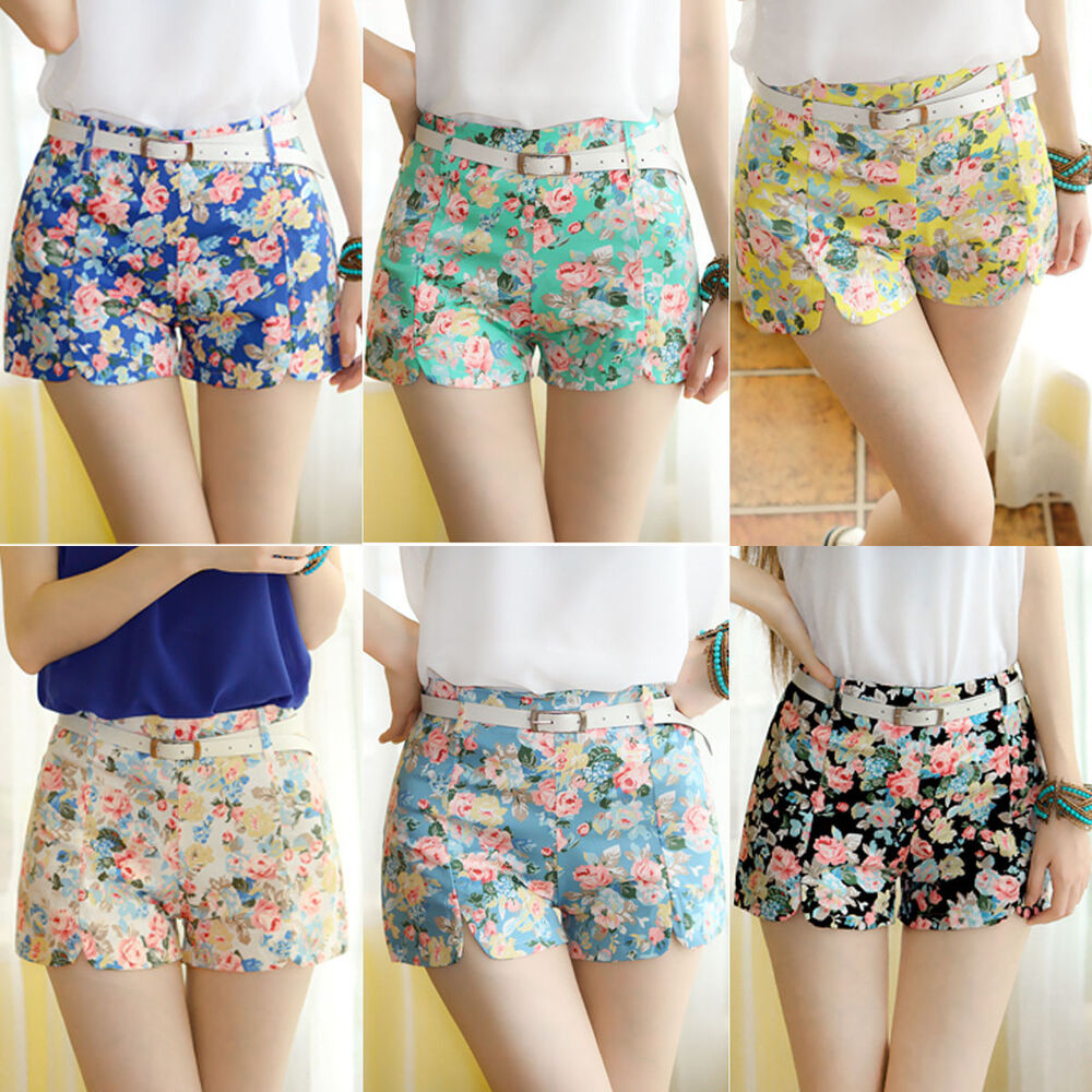women 39 s floral print high waist shorts summer casual. Black Bedroom Furniture Sets. Home Design Ideas