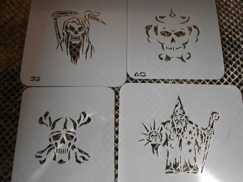 0136ede3bbc4c Details about Airbrush Temporary Tattoos Stencil Set #31 Skulls-Reaper New Island  Tribal!