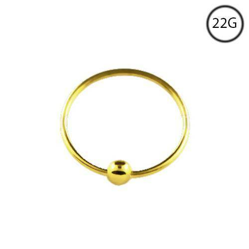 10kt Solid Yellow Gold Nose Ring Hoop Earring Ball 5 16