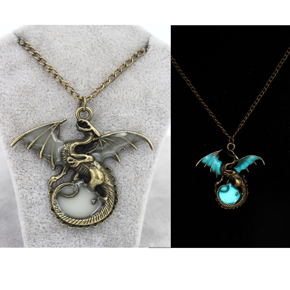 Mens glow in the dark retro dragon pendant necklace silver for Dragon gifts for men