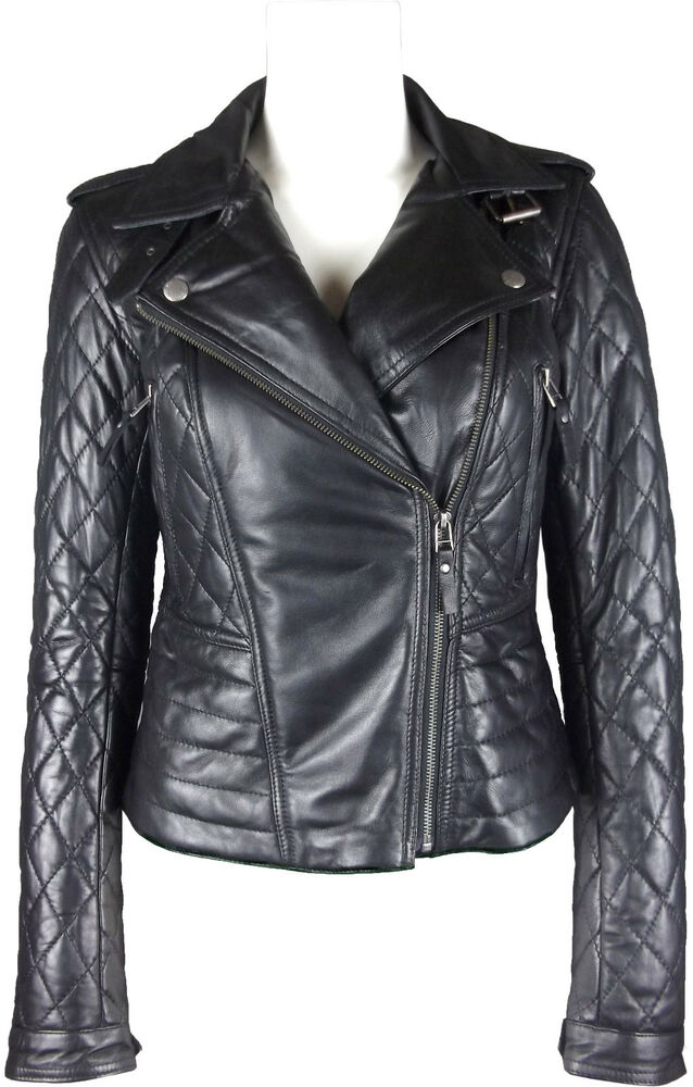 UNICORN Womens Quilted Real Leather Jacket